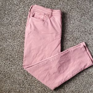 Pink High-Rise Skinny Ankle Jeans